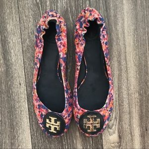 85763f200bd0 Tory Burch Shoes - Tory Burch Reva Canvas and Leather Patterned Flats
